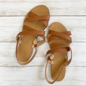J Crew Cross Strap Cognac Leather Sandals